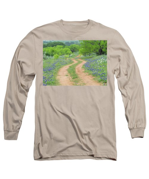 A Dirt Road Lined By Blue Bonnets Of Texas Long Sleeve T-Shirt