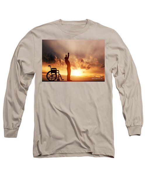 A Disabled Man Standing Up From Wheelchair Long Sleeve T-Shirt
