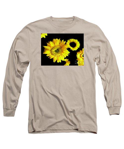 Long Sleeve T-Shirt featuring the photograph A Few Sunflowers by Merton Allen