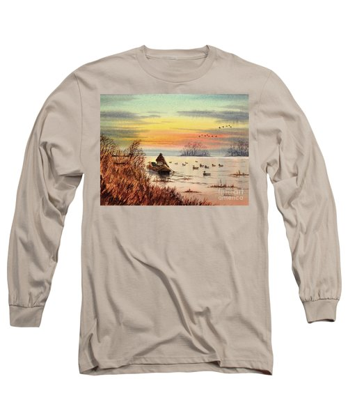 Long Sleeve T-Shirt featuring the painting A Great Day For Duck Hunting by Bill Holkham