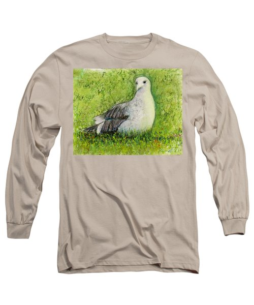 A Gull On The Grass Long Sleeve T-Shirt by Laurie Morgan