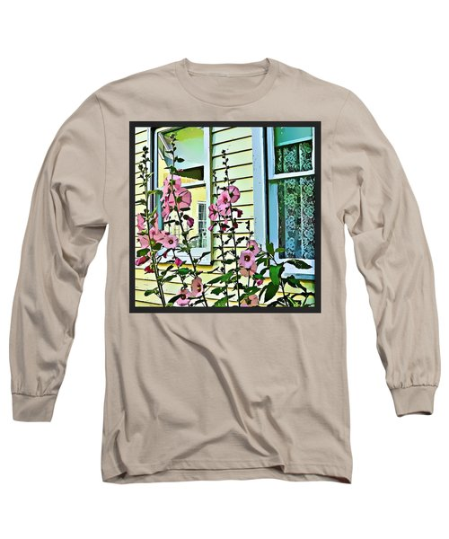 Long Sleeve T-Shirt featuring the digital art A Holly Hocks Morning by Mindy Newman