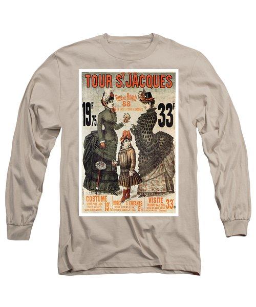 A La Tour St.jacques - Rue De Rivoli - Vintage Fashion Advertising Poster - Paris, France Long Sleeve T-Shirt