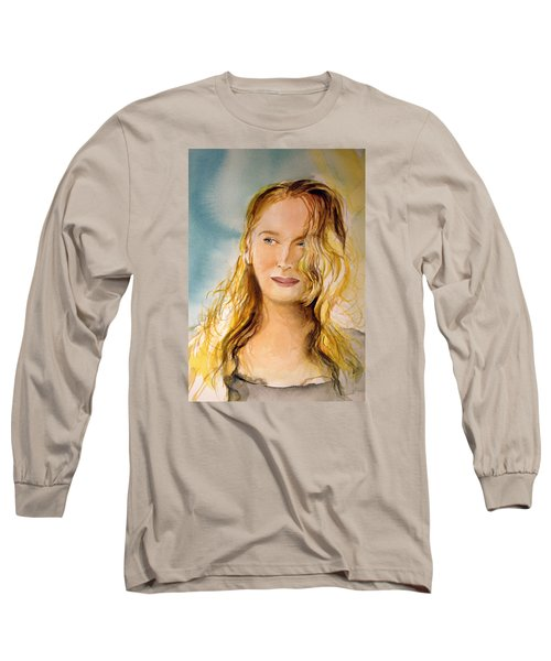 Long Sleeve T-Shirt featuring the painting A Little Bit Of Meryl by Allison Ashton