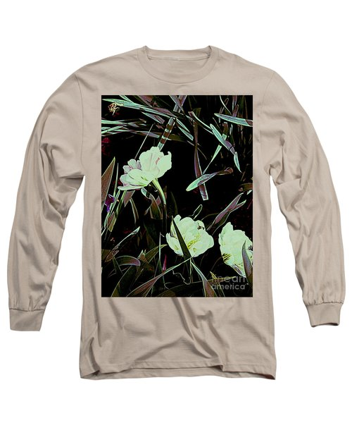Long Sleeve T-Shirt featuring the photograph A Noir Mystery Tulip Trio by Nancy Kane Chapman