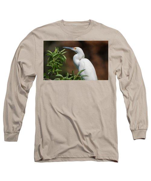 A Resting Snowy Egret  Long Sleeve T-Shirt by Kenneth Albin