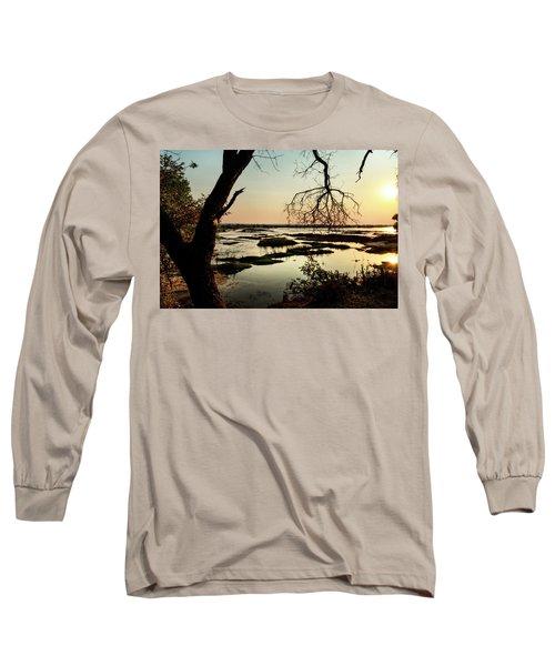 A River Sunset In Botswana Long Sleeve T-Shirt