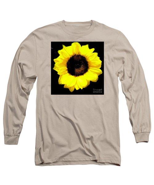 A Single Sunflower Long Sleeve T-Shirt by Merton Allen