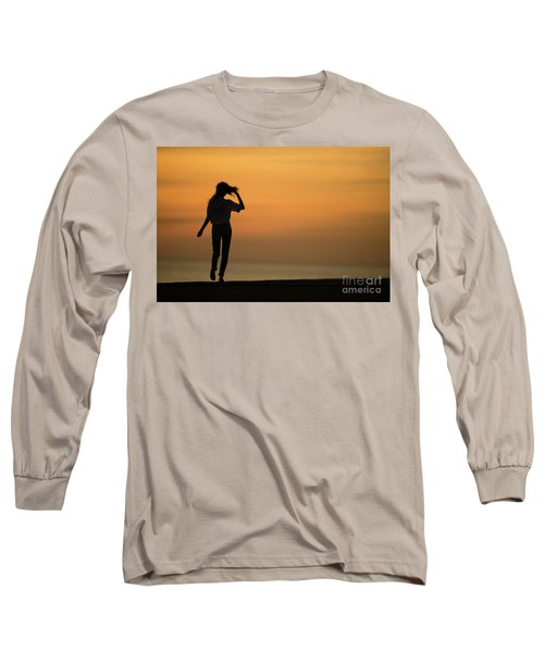 A Slim Woman Walking At Sunset Long Sleeve T-Shirt
