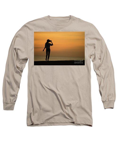 A Slim Woman Walking At Sunset Long Sleeve T-Shirt
