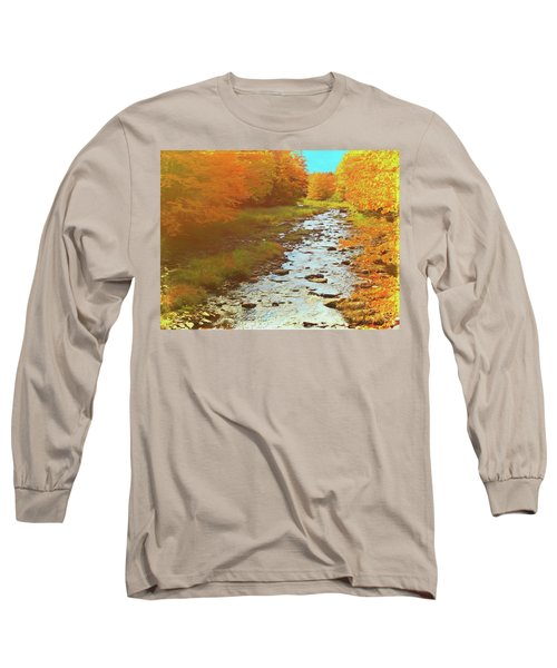 A Small Stream Bright Fall Color. Long Sleeve T-Shirt