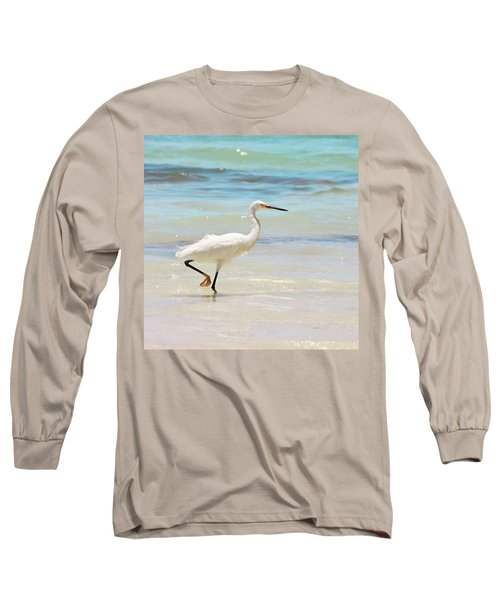 A Snowy Egret (egretta Thula) At Mahoe Long Sleeve T-Shirt