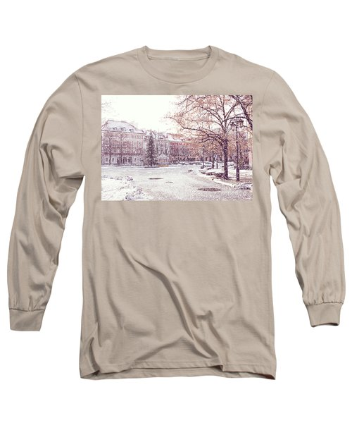 Long Sleeve T-Shirt featuring the photograph A Street In Warsaw, Poland On A Snowy Day by Juli Scalzi