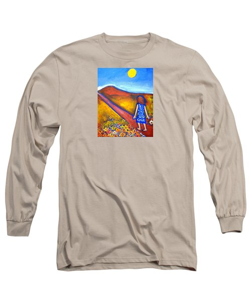 Long Sleeve T-Shirt featuring the painting A Sunny Path by Winsome Gunning