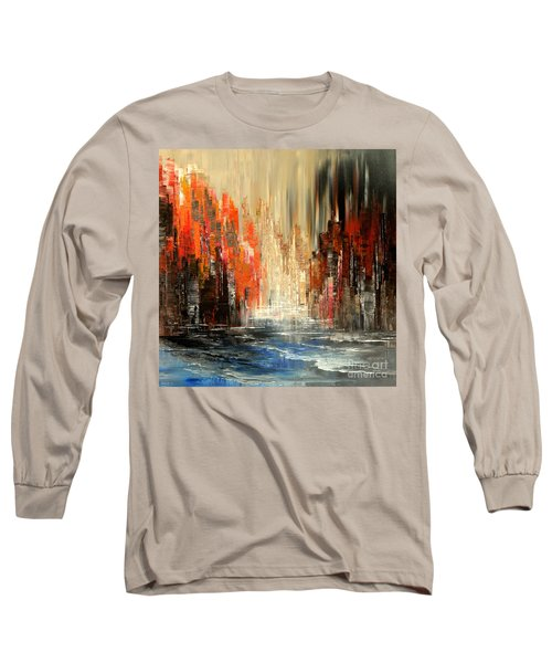 Long Sleeve T-Shirt featuring the painting A Tale Of Two Cities by Tatiana Iliina