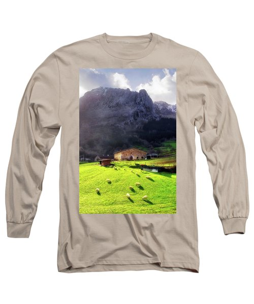 A Typical Basque Country Farmhouse With Sheep Long Sleeve T-Shirt