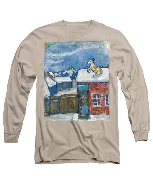 A Village In Winter Long Sleeve T-Shirt by Marc Chagall