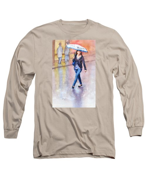 Long Sleeve T-Shirt featuring the painting A Walk In The Rain by Bonnie Rinier