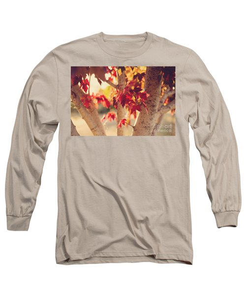 A Warm Red Autumn Long Sleeve T-Shirt by Linda Lees