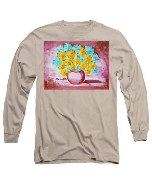 Long Sleeve T-Shirt featuring the painting A Whole Bunch Of Daisies by Ramona Matei