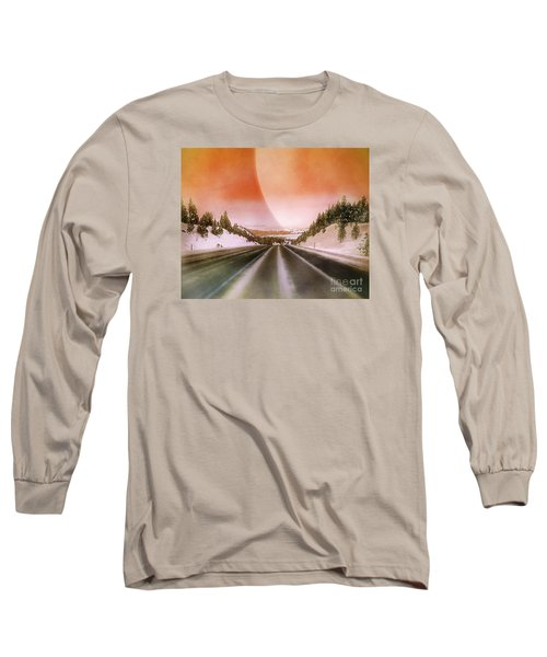 A December Drive 3 - Digital Artwork Long Sleeve T-Shirt by Janie Johnson