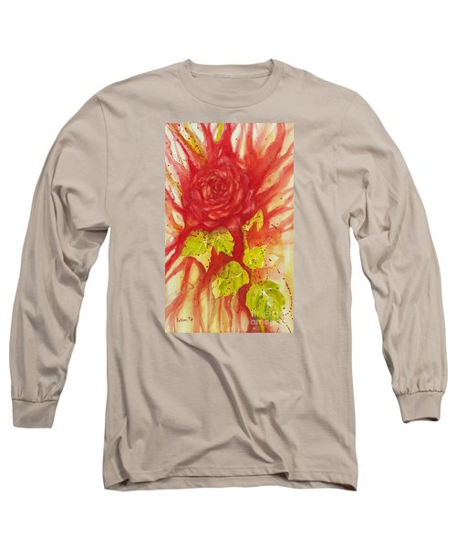 Long Sleeve T-Shirt featuring the painting A Wounded Rose by Kathleen Pio