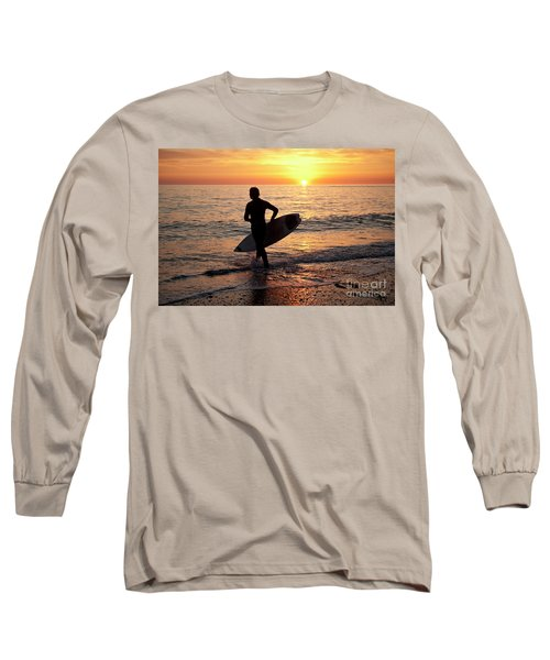 A Young Man Surfing At Sunset Off Aberystwyth Beach, Wales Uk Long Sleeve T-Shirt