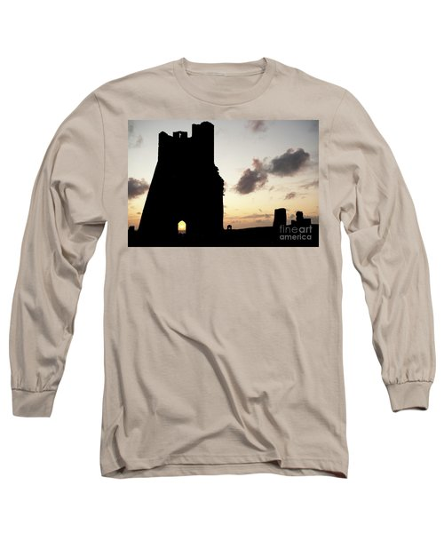 Aberystwyth Castle Tower Ruins At Sunset, Wales Uk Long Sleeve T-Shirt