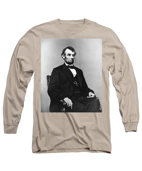 Long Sleeve T-Shirt featuring the photograph Abraham Lincoln Portrait - Used For The Five Dollar Bill - C 1864 by International  Images
