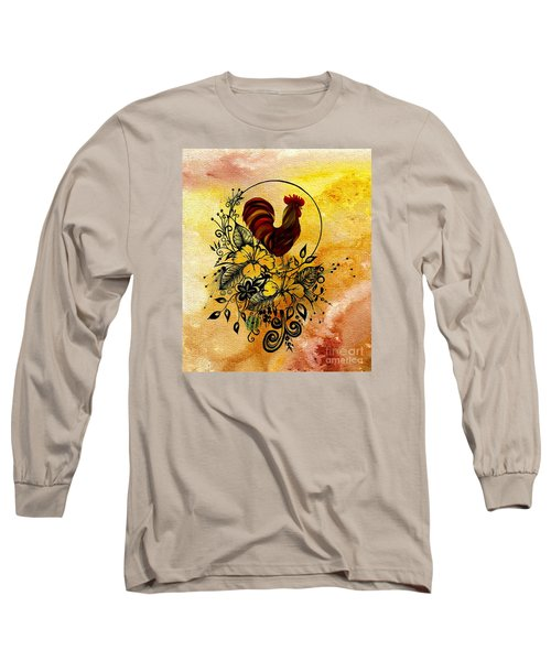Abstract Acrylic Painting Rooster Long Sleeve T-Shirt by Saribelle Rodriguez