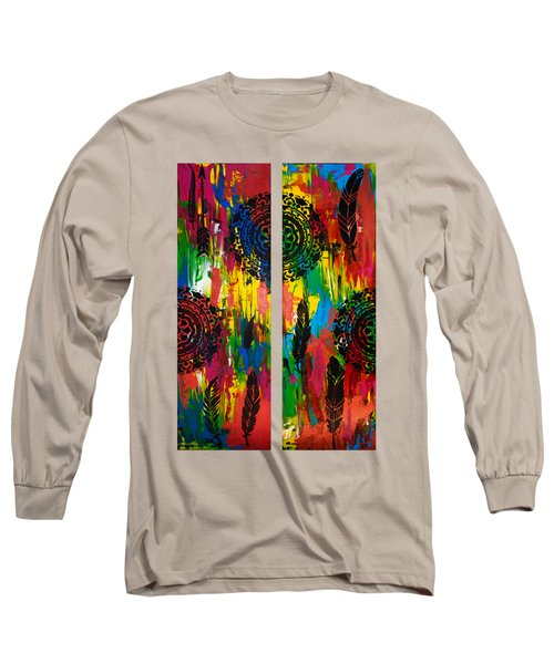 Abstract Boho Design - Diptych By Nikki And Kaye Menner Long Sleeve T-Shirt