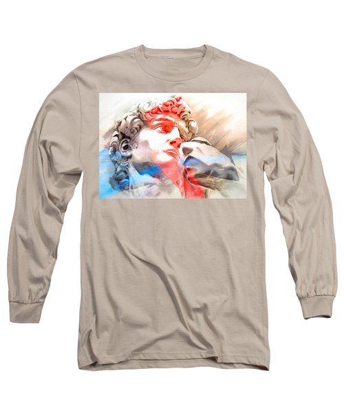 Long Sleeve T-Shirt featuring the painting Abstract David Michelangelo 2 by J- J- Espinoza