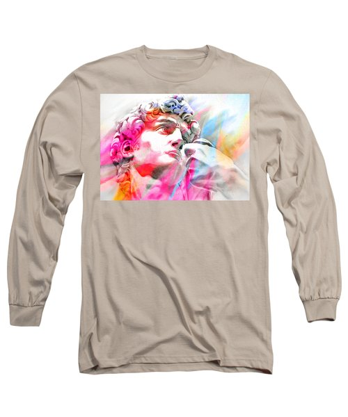 Long Sleeve T-Shirt featuring the painting Abstract David Michelangelo 4 by J- J- Espinoza