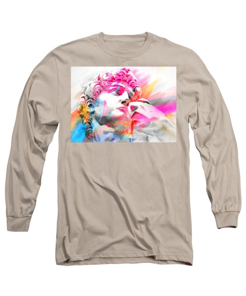 Long Sleeve T-Shirt featuring the painting Abstract David Michelangelo 5 by J- J- Espinoza