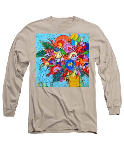 Abstract Flowers Floral Miniature Modern Impressionist Palette Knife Oil Painting Ana Maria Edulescu Long Sleeve T-Shirt