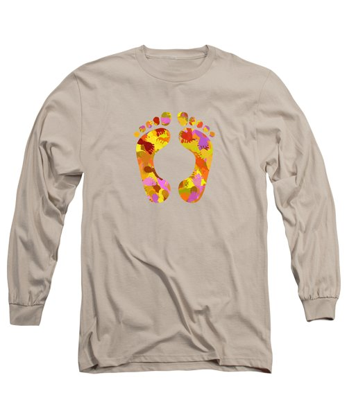 Long Sleeve T-Shirt featuring the mixed media Abstract Footprints On Canvas by Christina Rollo