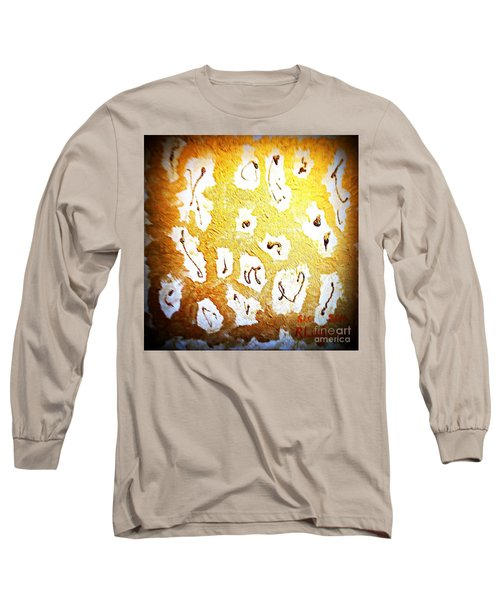 Long Sleeve T-Shirt featuring the painting Bling Abstract Gold 1 by Richard W Linford