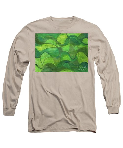 Abstract Green Wave Connection Long Sleeve T-Shirt