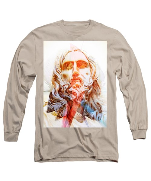 Long Sleeve T-Shirt featuring the painting Abstract Jesus 2 by J- J- Espinoza