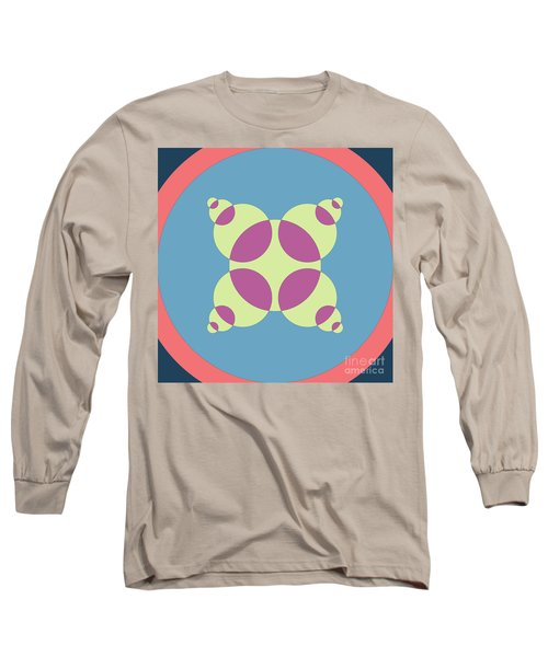 Abstract Mandala Orange, Black And Cyan Pattern For Home Decoration Long Sleeve T-Shirt