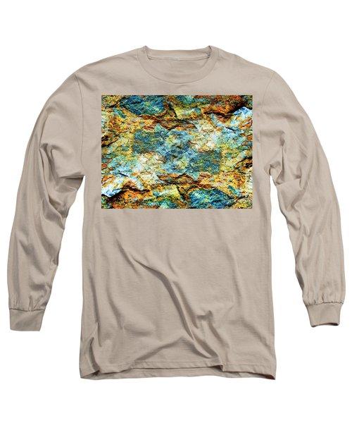 Abstract Nature Tropical Beach Rock Blue Yellow And Orange Macro Photo 472 Long Sleeve T-Shirt