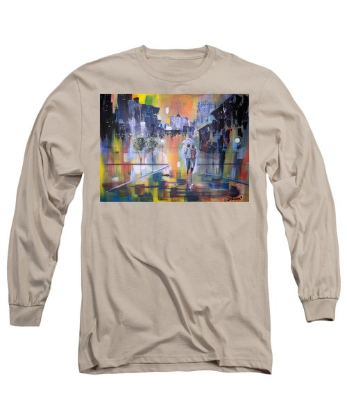 Long Sleeve T-Shirt featuring the painting Abstract Of Motion by Raymond Doward