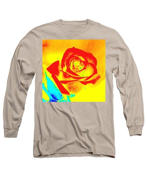 Single Orange Rose Abstract Long Sleeve T-Shirt
