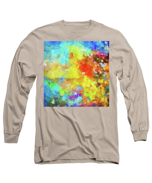 Abstract Seascape Painting With Vivid Colors Long Sleeve T-Shirt by Ayse Deniz