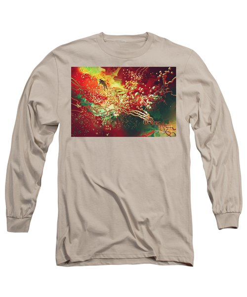 Long Sleeve T-Shirt featuring the painting Abstract Space by Tithi Luadthong