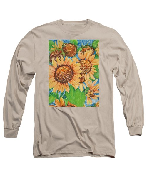 Long Sleeve T-Shirt featuring the painting Abstract Sunflowers by Chrisann Ellis