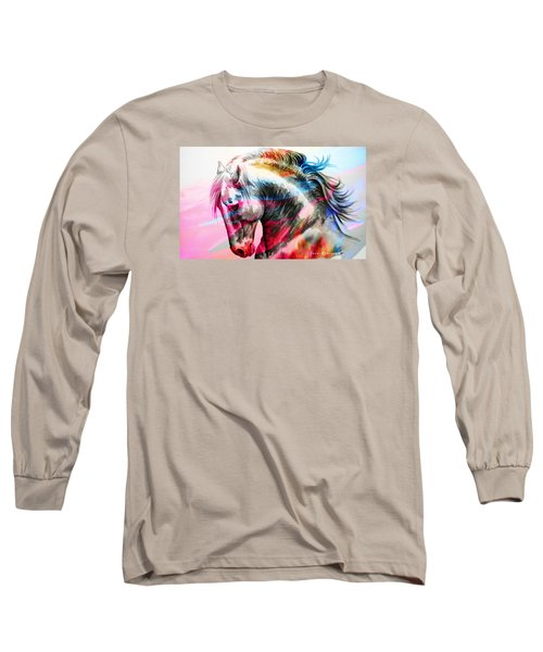 Long Sleeve T-Shirt featuring the painting Abstract White Horse 45 by J- J- Espinoza