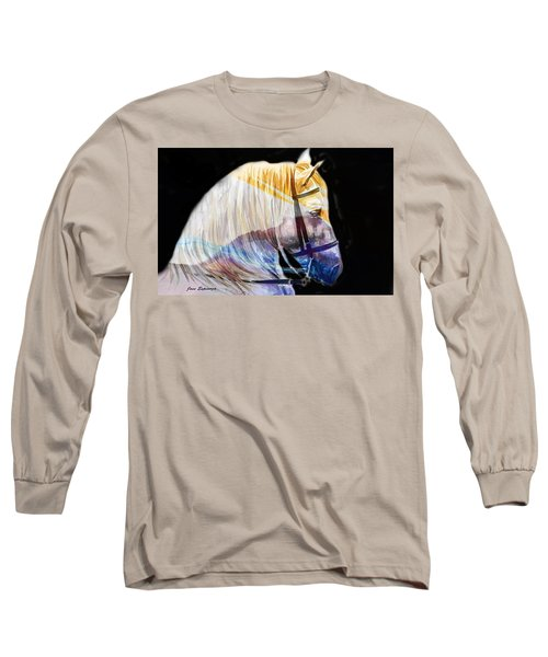 Long Sleeve T-Shirt featuring the painting Abstract White Horse 50 by J- J- Espinoza