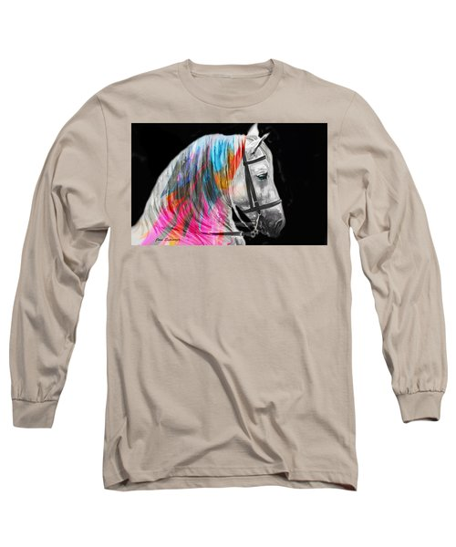 Long Sleeve T-Shirt featuring the painting Abstract White Horse 54 by J- J- Espinoza