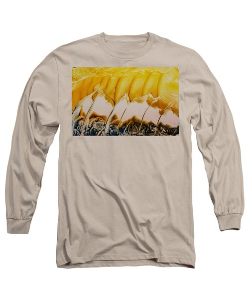 Abstract Yellow, White Waves And Sails Long Sleeve T-Shirt